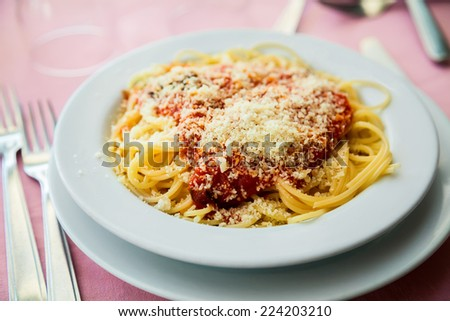 vegetarian spaghetti with fresh tomato sauce and parmesan - stock photo