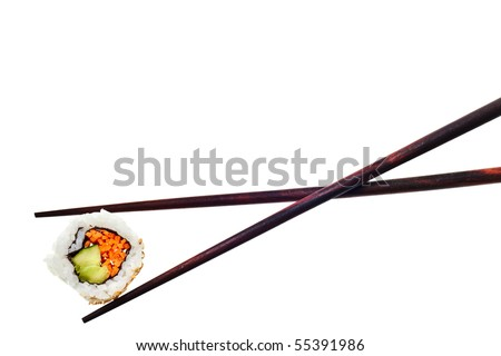 Vegetarian sushi California roll with rice and seaweed isolated on white background