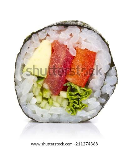 Vegetarian sushi roll isolated on white background - stock photo