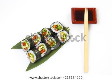 Vegetarian sushi roll on white background - stock photo