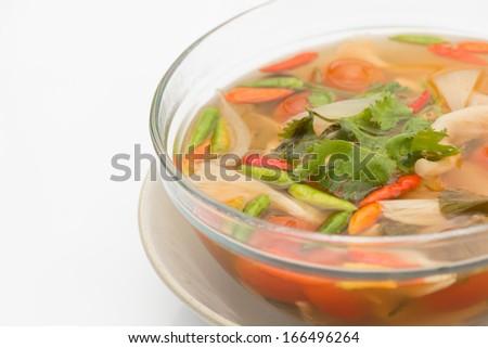 Vegetarian Thai Food mushroom tom yum soup - stock photo