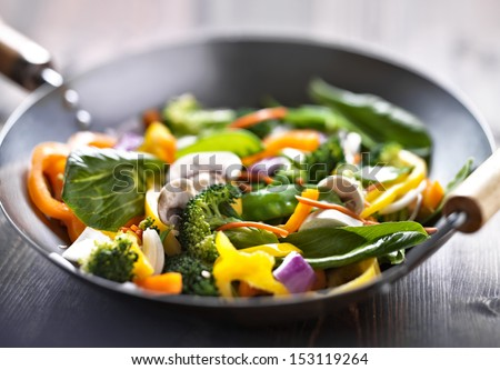 vegetarian wok stir fry - stock photo