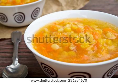 Vegetarian yellow pea soup - stock photo
