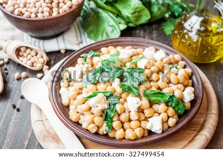 veggie dish with chickpeas - stock photo