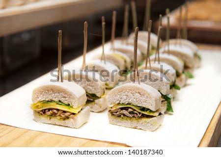 veggie sandwich recipe cocktail, Cheese and mushroom - stock photo