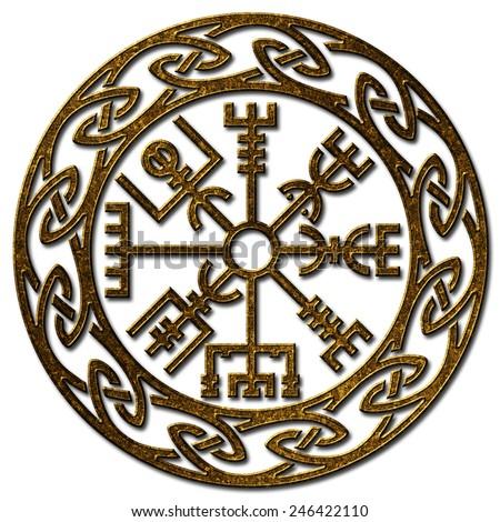 Vegvisir, Icelandic Sign, Viking Compass  - stock photo