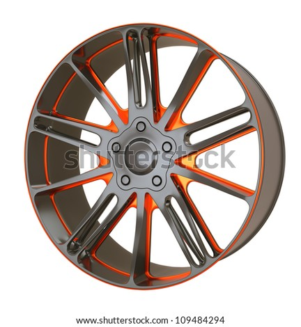 Vehicle alloy disc or wheel isolated over white (custom rendered) - stock photo