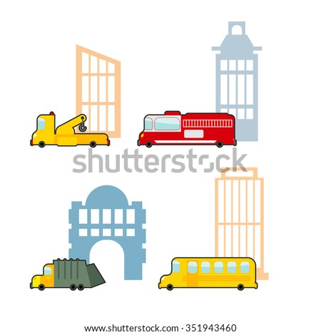 Vehicle and industrial buildings. Fire truck and tow truck. School bus and school. Set of childrens toy car. - stock photo