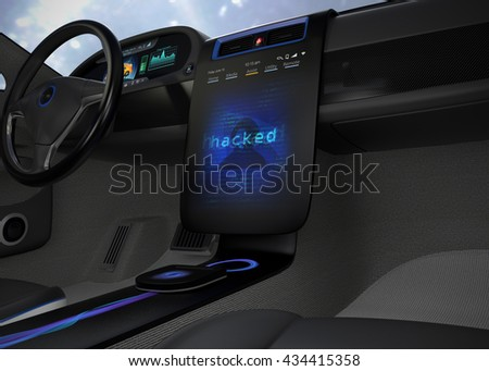 Vehicle console monitor showing screen shot of computer system was hacked. Concept for risk of self-driving car. 3D rendering image. - stock photo