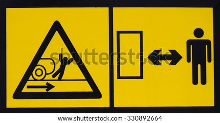 Vehicle danger warning label. Hazard warning sign.