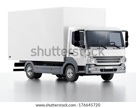 Vehicle delivers freight, 3D render - stock photo