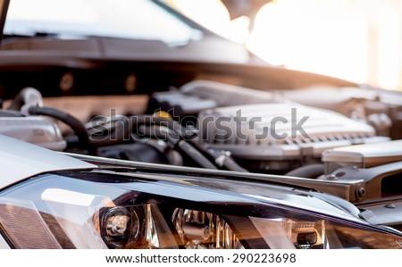 Vehicle engine bay 1 - stock photo