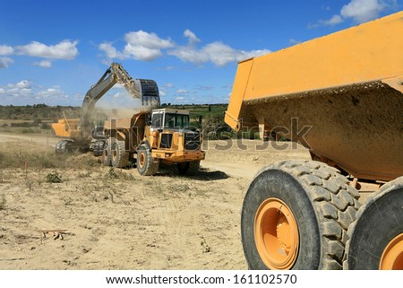vehicle in action on a construction site