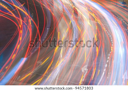 Vehicle movements at night. - stock photo