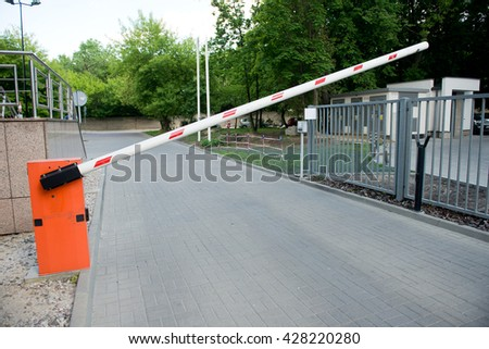 Vehicle security barrier - entrance to the car park - stock photo