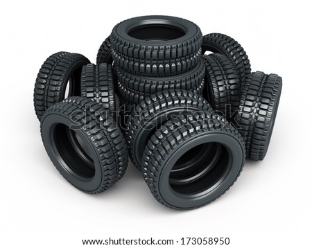 Vehicle tire stacked (isolated on white and clipping path) - stock photo