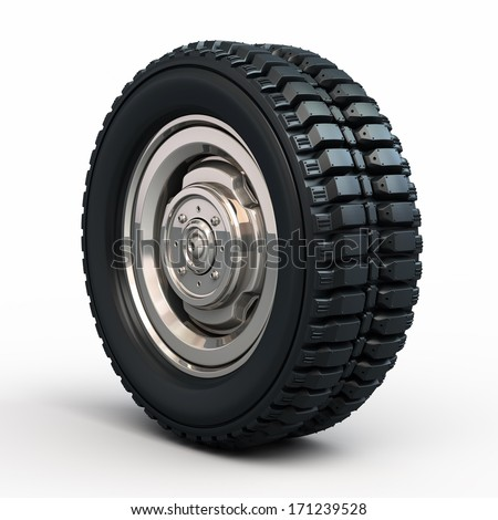 Vehicle tires and wheels render (isolated on white and clipping path) - stock photo