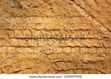 Vehicle track on dirt - stock photo