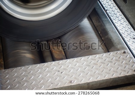 vehicle while the roller brake tester - stock photo