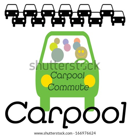 vehicle with multiple commuters in traffic illustration - stock photo