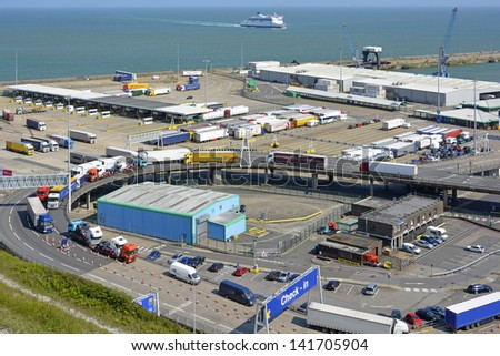 Vehicles and infrastructure at the English Channel ferry port of Dover in Kent England UK - stock photo