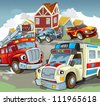 Vehicles on the road - illustration for the children 5 - stock vector