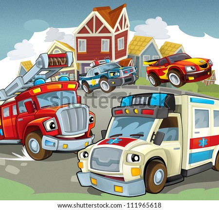 Vehicles on the road - illustration for the children 5 - stock photo