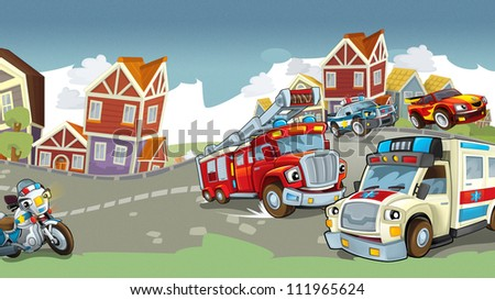 Vehicles on the road - illustration for the children 9 - stock photo