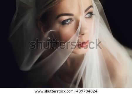Veil coveres a perfect face of a bride - stock photo