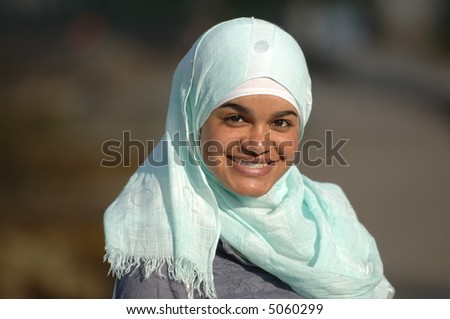 Veiled Muslim Girl - stock photo