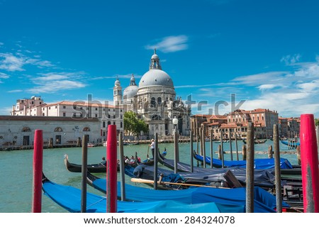 Veiw at Basilica di Santa Maria della Salute, Venice, Italy, summer 2015 - stock photo