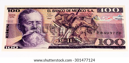 VELIKIE LUKI, RUSSIA - JULY 30, 2015: 100 Mexican pesos made in 1982