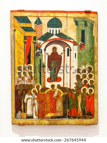 VELIKY  NOVGOROD, RUSSIA - JULY 24, 2014: Antique Russian orthodox icon Intercession of the Theotokos painted on wooden board - stock photo