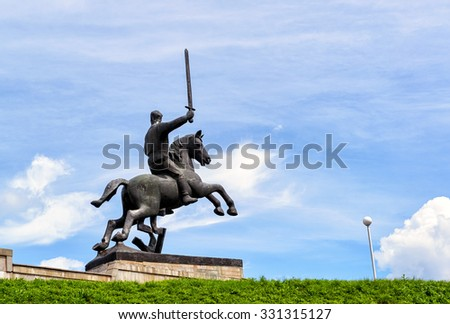VELIKY NOVGOROD, RUSSIA - JUNE 12, 2014: Detail of Victory Monument - in honor of the Soviet victory over Nazi Germany. UNESCO recognised Veliky Novgorod (Novgorod the Great) as a World Heritage Site.