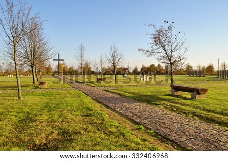 VELIKY NOVGOROD, RUSSIA- OCTOBER 17, 2015.German military memorial cemetery. Was constructed in the Second World War, for 455 graves. Until 2009, there were 7,713 graves brought to this war cemetery.