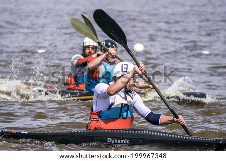 VELIKY NOVGOROD, RUSSIA - on June 13: Russian Cup stage (polo canoe) on the Volkhov River in Veliky Novgorod on June 13, 2014.