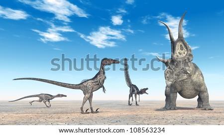 Velociraptors Hunting Computer generated 3D illustration - stock photo
