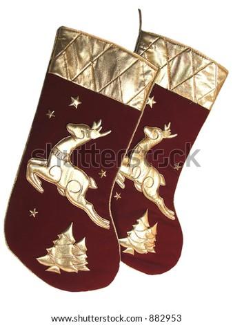 velvet and gold silk christmas stockings - stock photo