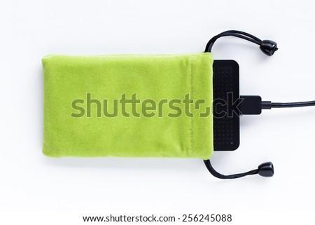 Velvet bag, pouch for external hard disk. - stock photo