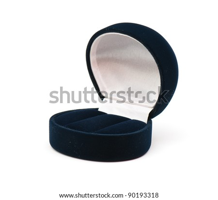 Velvet box for jewelry on the white isolated background - stock photo