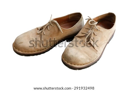 Velvet brown leather shoes  background white. - stock photo