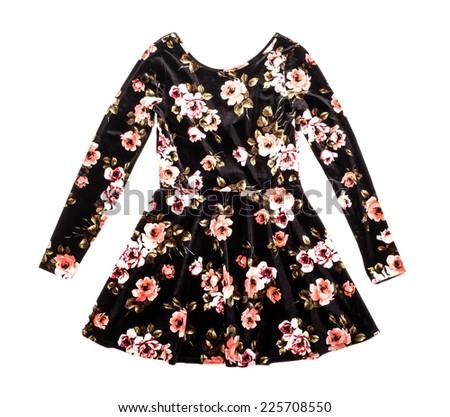 Velvet Floral Dress Isolated on White  - stock photo