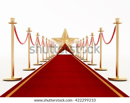 Velvet rope and golden barriers isolated on white background. 3D illustration.