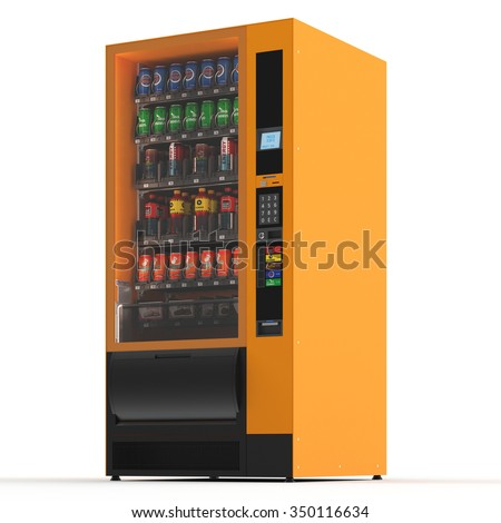 Vending machine on white background. 3d render