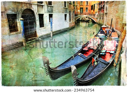 Venetian canals. artwork in painting style - stock photo