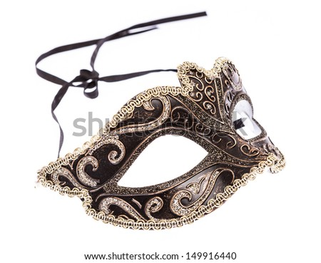 Venetian Carnival Mask on white background - stock photo