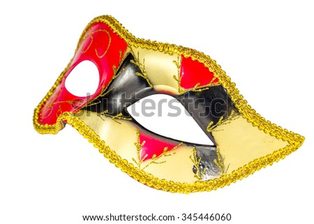 Venetian Carnival mask profile red yellow black patterned asymmetric coloring image isolated white background