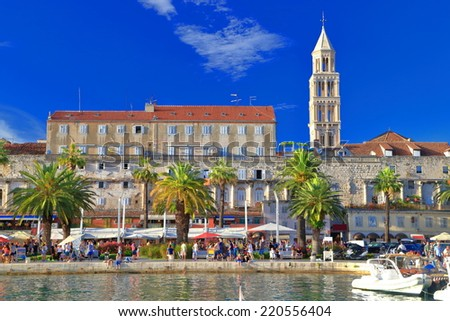 Venetian church tower and the Palace of Diocletian on the Adriatic sea coast, Split, Croatia - stock photo