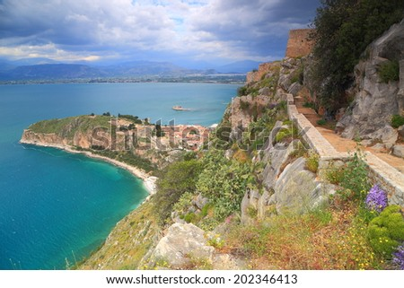 Venetian fortress and Nafplio town surrounded by sea, Greece