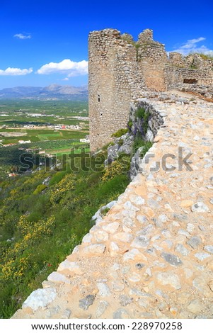 Venetian fortress built above large valley near Argos, Greece - stock photo